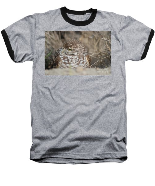 Baseball T-Shirt featuring the photograph Burrowing Owl by Oksana Semenchenko