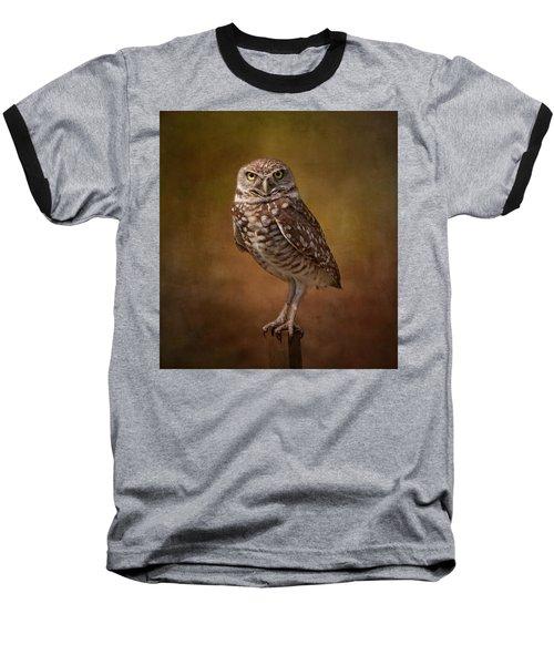 Burrowing Owl Portrait Baseball T-Shirt