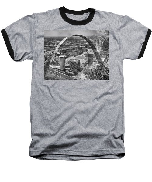 Busch Stadium Bw A View From The Arch Merged Image Baseball T-Shirt