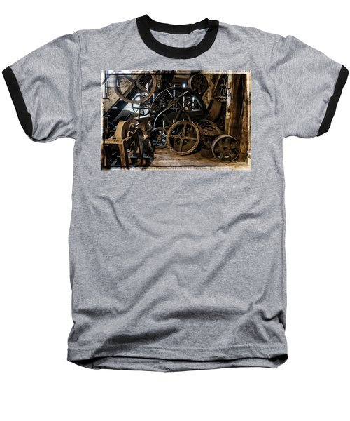 Butte Creek Mill Interior Scene Baseball T-Shirt by Mick Anderson