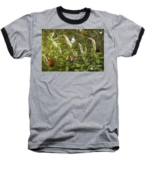 Baseball T-Shirt featuring the photograph Butterflies In Golden Garden by Belinda Greb