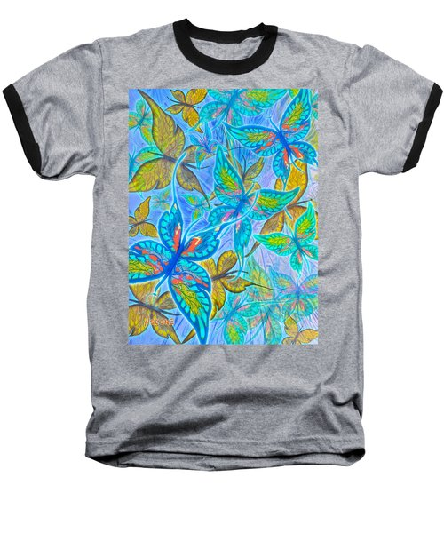 Baseball T-Shirt featuring the mixed media Butterflies On Blue by Teresa Ascone