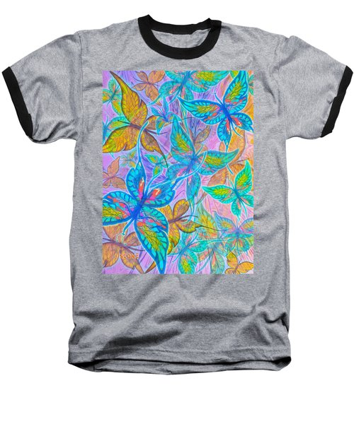 Baseball T-Shirt featuring the mixed media Butterflies On Lilac by Teresa Ascone