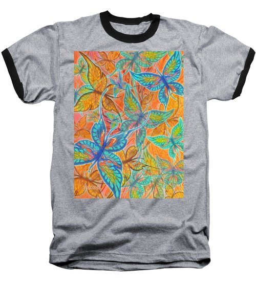 Baseball T-Shirt featuring the painting Butterflies On Tangerine by Teresa Ascone