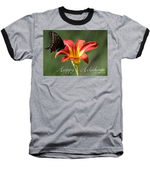 Butterfly And Lily Holiday Card Baseball T-Shirt