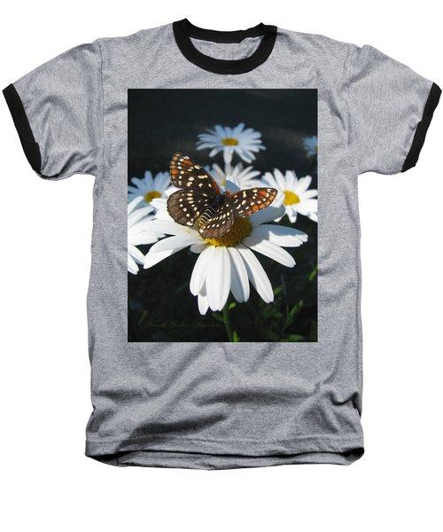 Butterfly And Shasta Daisy - My Spring Garden Baseball T-Shirt