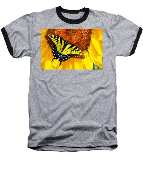 Butterfly And The Sunflower Baseball T-Shirt