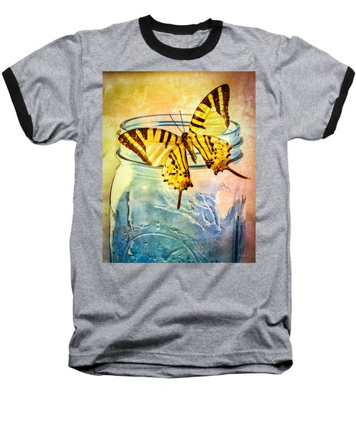 Butterfly Blue Glass Jar Baseball T-Shirt by Bob Orsillo