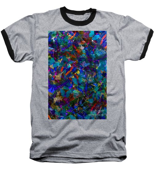 Baseball T-Shirt featuring the photograph Butterfly Collage Blue by Robert Meanor