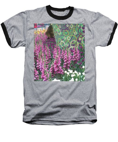 Baseball T-Shirt featuring the photograph Butterfly Garden Purple White Flowers Painted Wall by Navin Joshi