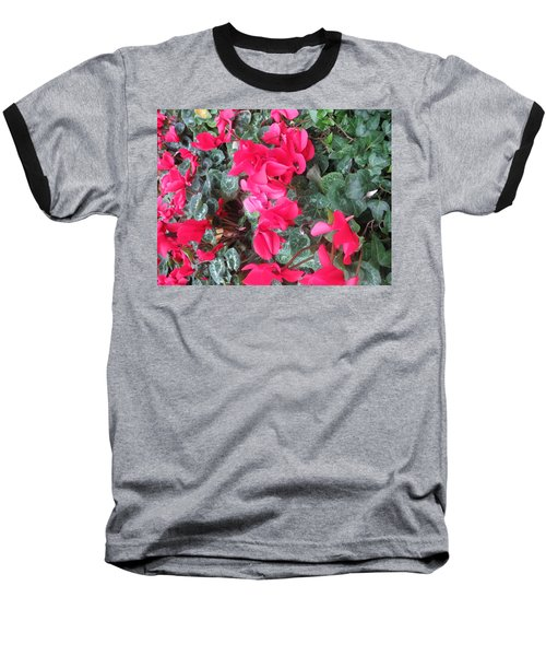 Baseball T-Shirt featuring the photograph Butterfly Garden Red Exotic Flowers Las Vegas by Navin Joshi