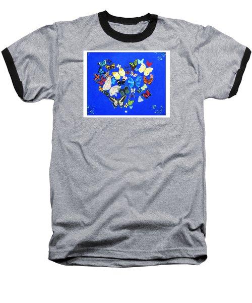 Butterfly Heart Baseball T-Shirt by Anne Marie Brown