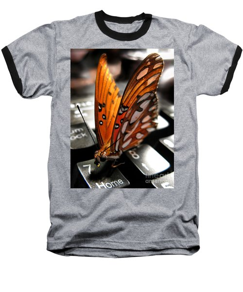 Baseball T-Shirt featuring the photograph Butterfly Home At 7 by Jennie Breeze