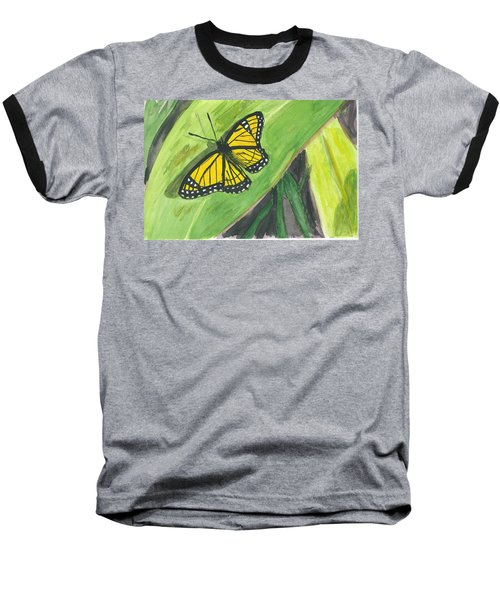 Baseball T-Shirt featuring the painting Butterfly In Vermont Corn Field by Donna Walsh