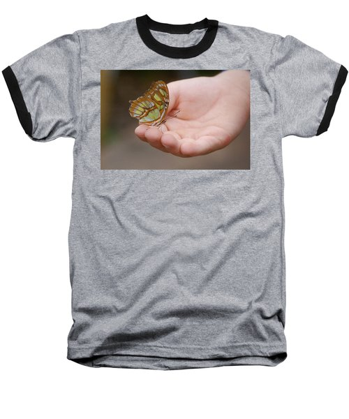Baseball T-Shirt featuring the photograph Butterfly On Hand by Leticia Latocki