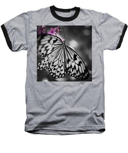 Butterfly On Pink Flowers Baseball T-Shirt by Bradley R Youngberg