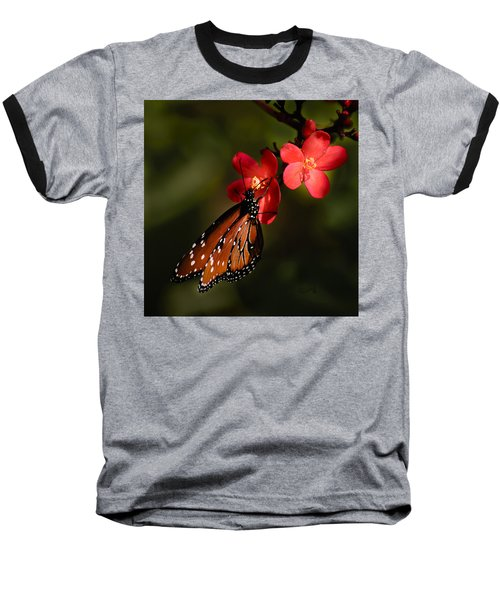 Butterfly On Red Blossom Baseball T-Shirt