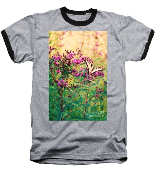 Baseball T-Shirt featuring the painting Butterfly Wildflower by Eric  Schiabor