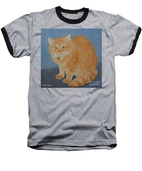 Butterscotch The Cat Baseball T-Shirt by Mini Arora