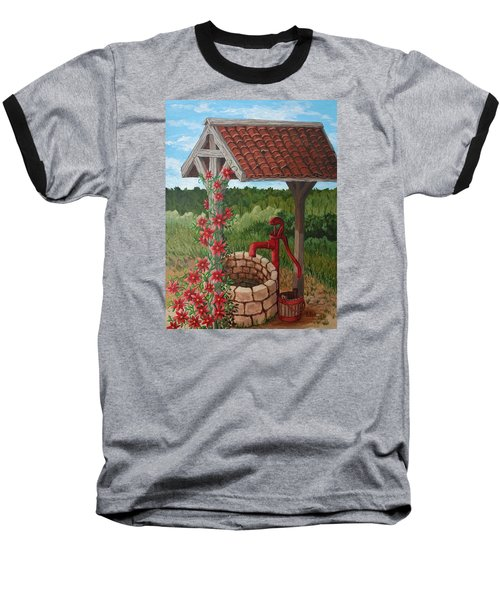Baseball T-Shirt featuring the painting By The Water Pump by Katherine Young-Beck
