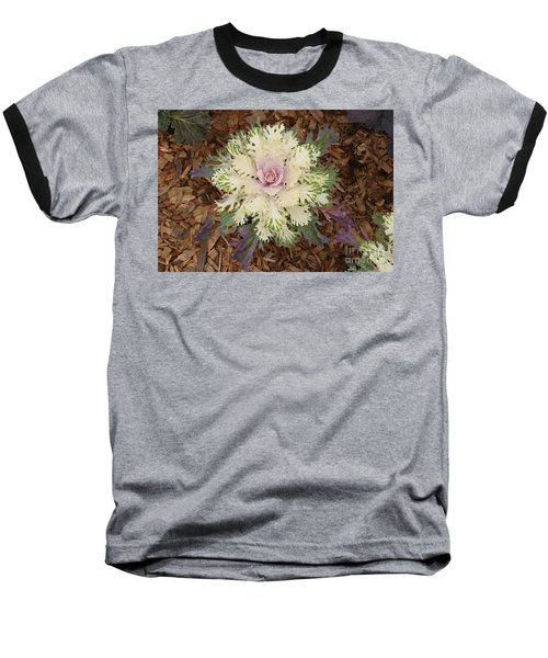 Cabbage Rose Baseball T-Shirt by Victoria Harrington