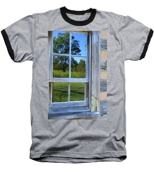 Baseball T-Shirt featuring the photograph Cabin Reflections by Larry Bishop