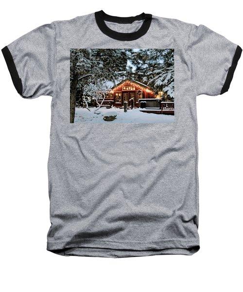Cabin With Christmas Lights Baseball T-Shirt