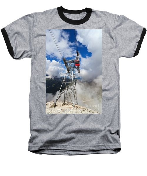 cableway in Italian Dolomites Baseball T-Shirt by Antonio Scarpi