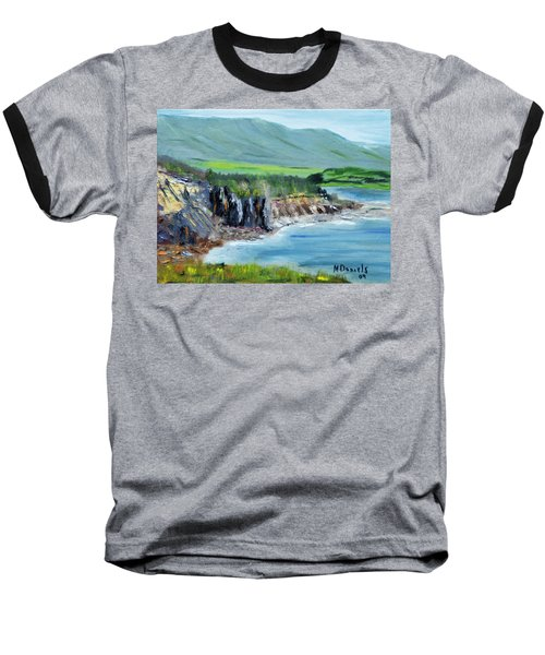 Baseball T-Shirt featuring the painting Cabot Trail Coastline by Michael Daniels