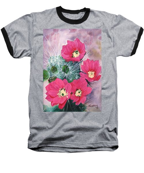Cactus Flowers I Baseball T-Shirt by Mike Robles