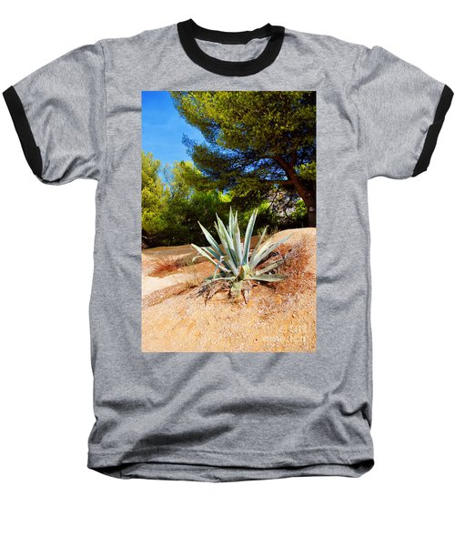 Cactus On A Rocky Coast Of French Riviera Baseball T-Shirt