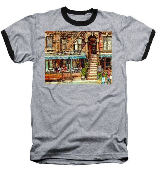 Cafe Mogador Moroccan Mediterranean Cuisine New York Paintings East Village Storefronts Street Scene Baseball T-Shirt