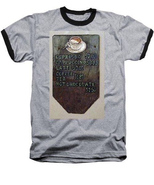 Cafe Sign On Slate Baseball T-Shirt
