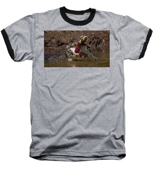 Caiman Vs Catfish 1 Baseball T-Shirt by David Beebe