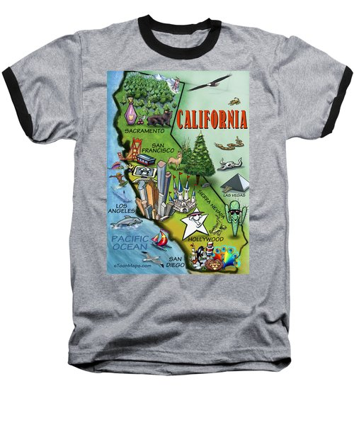 Baseball T-Shirt featuring the digital art California Cartoon Map by Kevin Middleton