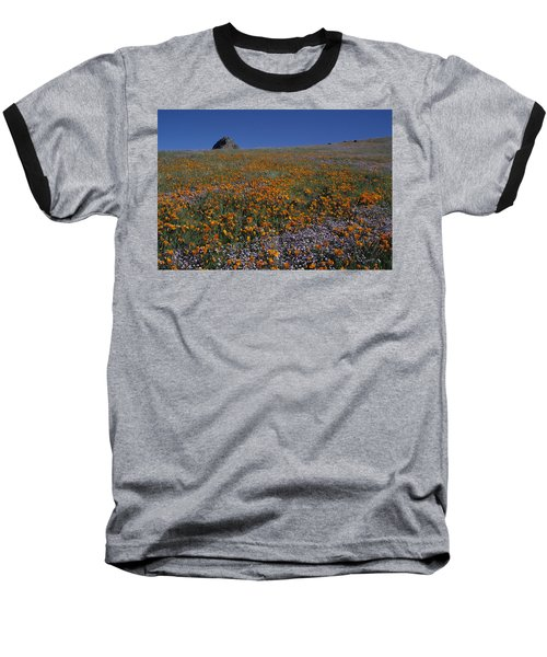 California Gold Poppies And Baby Blue Eyes Baseball T-Shirt