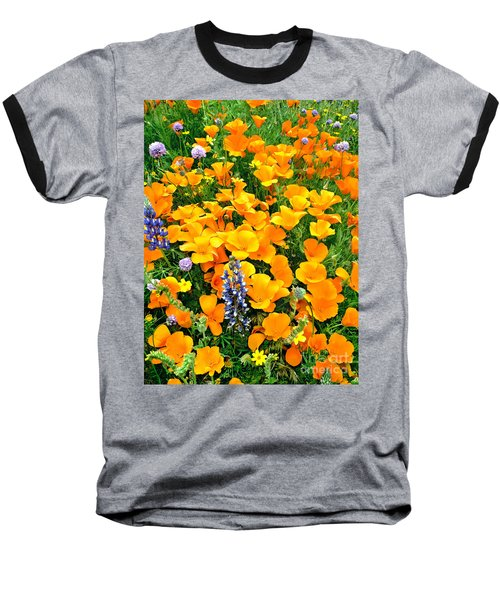 California Poppies And Betham Lupines Southern California Baseball T-Shirt by Dave Welling