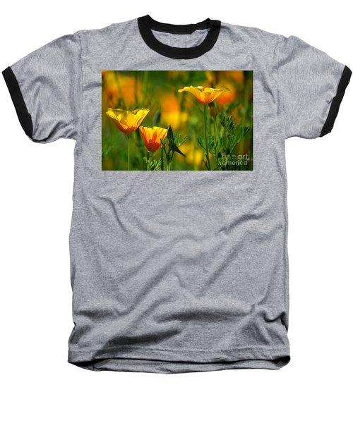 California Poppies Baseball T-Shirt by Deb Halloran