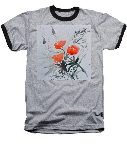 California Poppies Sumi-e Baseball T-Shirt