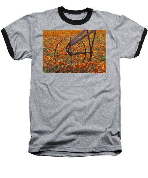 California Poppy Field Baseball T-Shirt