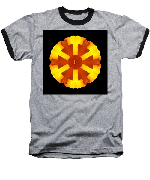 California Poppy Flower Mandala Baseball T-Shirt by David J Bookbinder