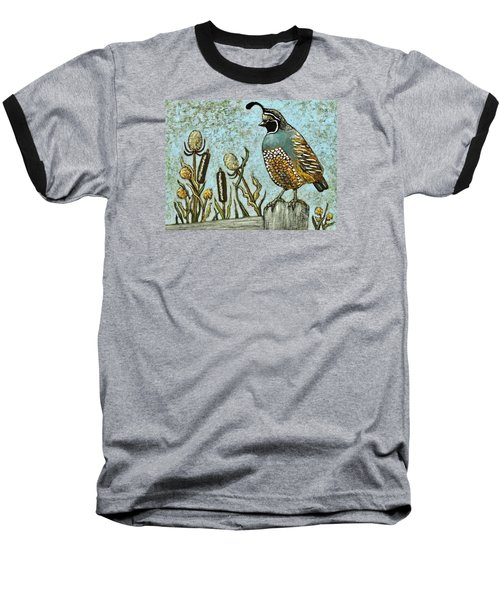 Baseball T-Shirt featuring the painting California Quail by VLee Watson