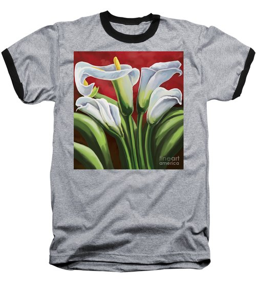 Baseball T-Shirt featuring the painting Calla Lilies  by Tim Gilliland