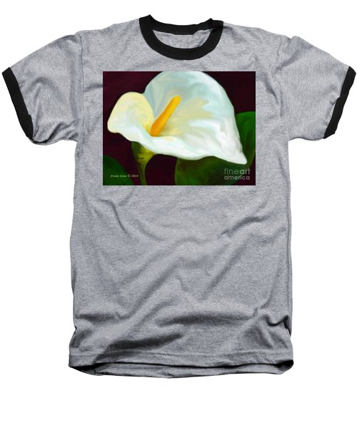 Calla Lily Painting Baseball T-Shirt by Annie Zeno