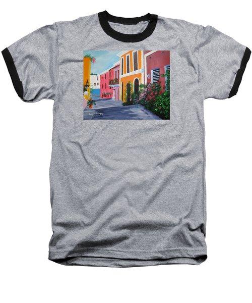 Callejon En El Viejo San Juan Baseball T-Shirt by Luis F Rodriguez