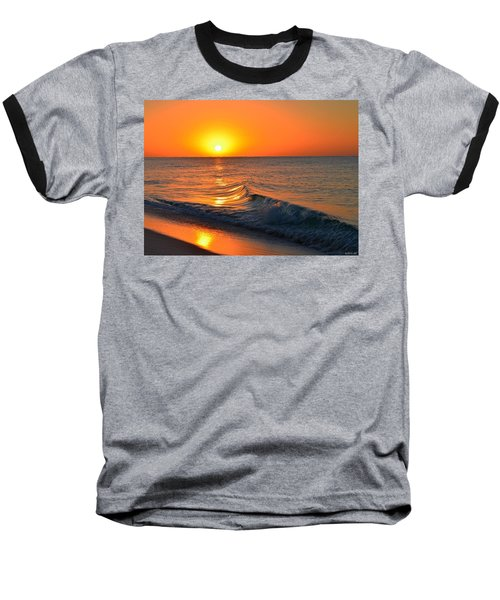 Calm And Clear Sunrise On Navarre Beach With Small Perfect Wave Baseball T-Shirt by Jeff at JSJ Photography