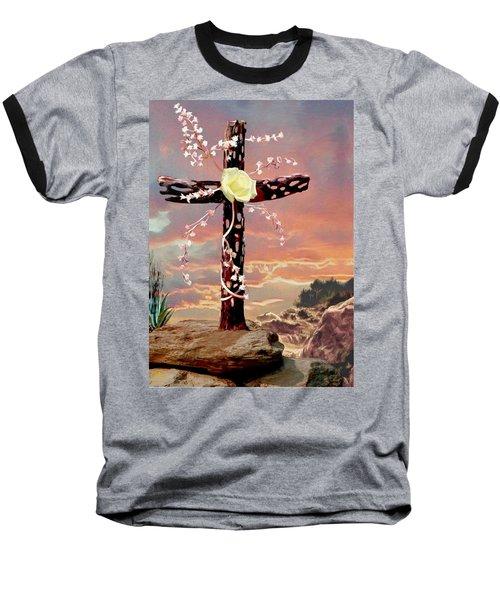 Calvary Cross Baseball T-Shirt by Ron Chambers