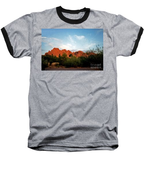 Camelback Mountain And Moon Baseball T-Shirt by Connie Fox