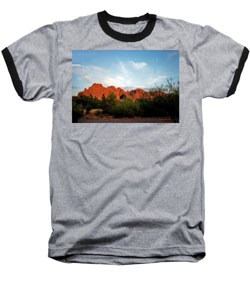 Camelback Mountain And Moon Baseball T-Shirt
