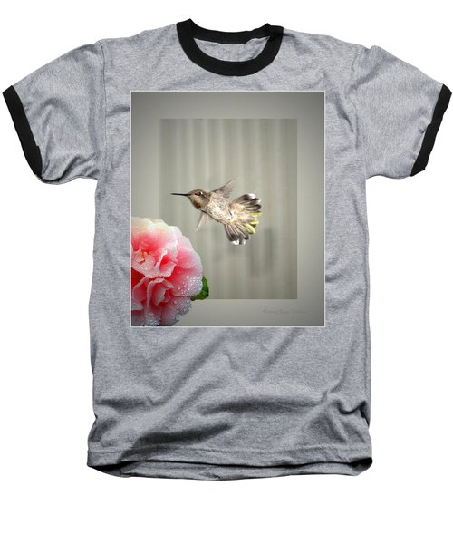 Baseball T-Shirt featuring the photograph Camellia And Hummer by Joyce Dickens